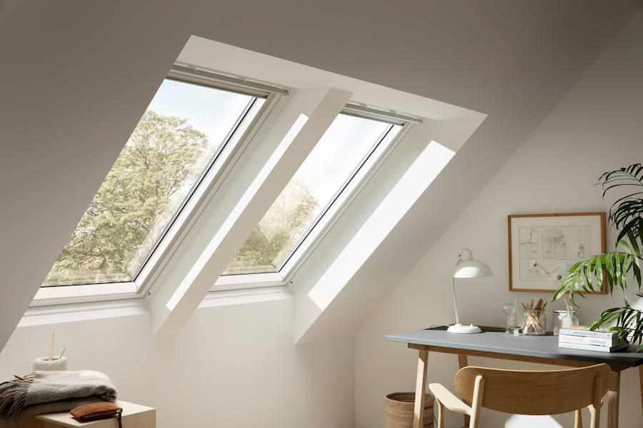 Inside bright loft with velux windows
