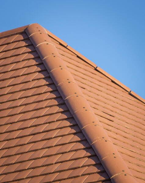 Close up of terracotta roof tiles alternate angle