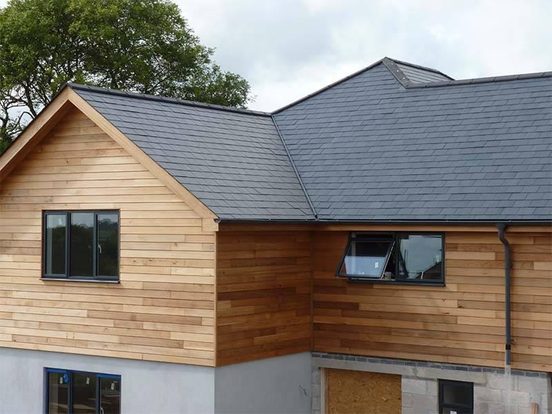 Slate tiles on wooden house